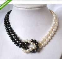 surprising design 2 row 8-9 mm white & black Akoya Cultured Pearl necklace 14K