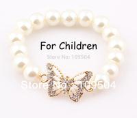 Butterfly Children Sideways Bracelet Bangle Simulated Pearl Fox Elastic Kids Baby Bracelet ZB77
