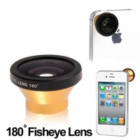 Hot Magnetic Gold 180 Detachable Fish Eye Lens for iPhone4 4S 3G 3GS Phone Samsung Note2 S3 S4 Htc One Free Shipping