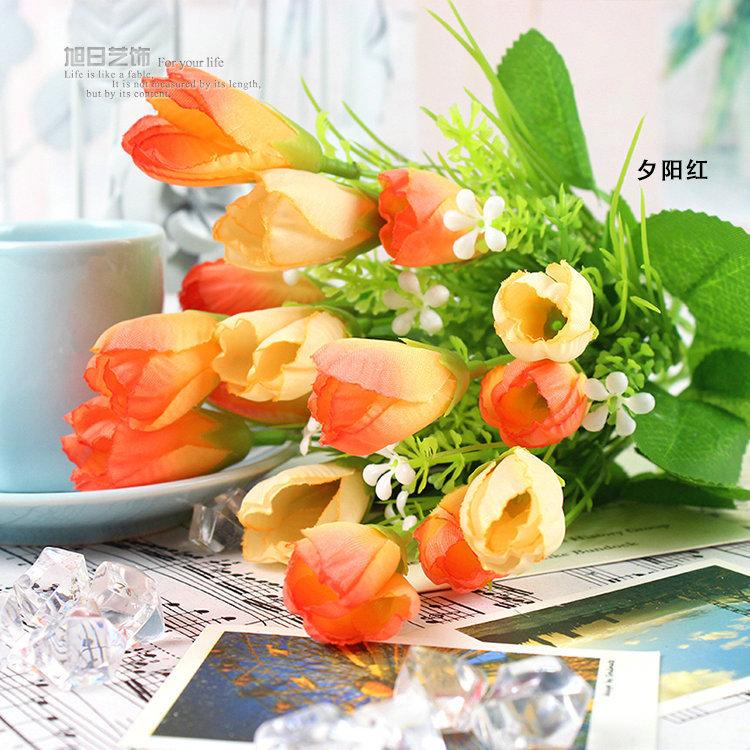 15 forks 10pcs orange Rose Simulation Flowers Bouquet Artificial Flowers Silk flower Decorative Flowers Wreaths Home Decoration(China (Mainland))