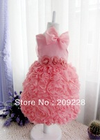Retail Retail  Beautiful Princess Lace Dress for Baby Girls Big Bowknot Elegant Birthday Party Kids Clothes Child's Clothing