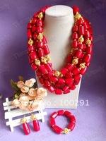 Free ship! Amazing!!!Six Strand Drum Bead Fashion  African Wedding Coral Jewelry //2015