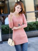 Free shipping 2014 women's sweater low collar pullover medium-long twisted mercerized cotton ball basic sweater dress sale