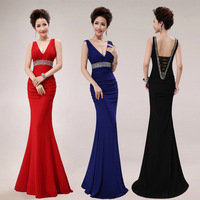EET-050 New Arrival Popular Woman Sexy V-neck Open Back FLoor Lenghth Beads Crystal Evening Dress 2014