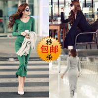Spring women's new arrival autumn and winter o-neck long sleeve knitted dress full length basic skirt one-piece dress