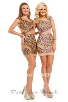 2014 New Nude Gold Jewel With Colorful Crystal Sheath Short Homecoming Party Dresses Sexy Formal Bandage Gown N168