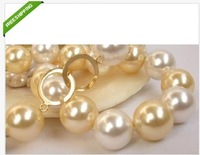 genuine perfect south sea white + golden shell pearl necklace 14mm 18 inch