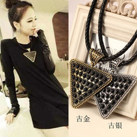 Fashion big triangle gem knitted rope metal female necklace clothes and accessories large pendant