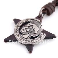 LEA111250 mens unique police badge brand Genuine Brown Leather Rope Pendant necklace