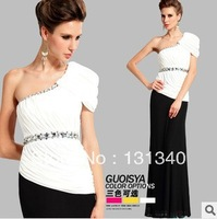 2014 New Designs  White+black  Elastic Sexy Cultivate one's morality   Evening Dress Free shipping