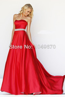 New Trend 2014 New Fashion Strapless Crystal Sashes Satin Elegant Prom Dresses Long Evening Gowns Free Shipping Tutu Dress N149