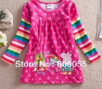 2014 new girls T shirts, 5pcs/lot wholesale Free shipping, Peppa Pig Girls' T shirt, purple/blue, long sleeve, 100% cotton