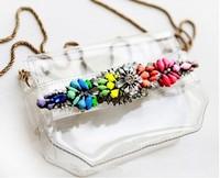 New arrival mini pretty Messenger Bags shourouk Transparent PVC colorful crystal  for women bag factory price wholesale 2014