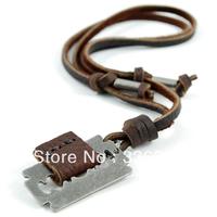 LEA111240 MENS brand Brown Genuine Leather necklace Razor blade pendant ITALY DESIGNER HOT SALE
