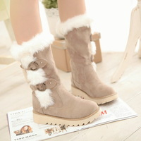 2013 preppy style snow boots winter boots fur boots cotton-padded shoes thermal medium-leg boots shoes boots