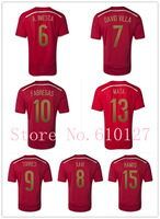 Spain 2014 World Cup home red thai quality soccer jersey,spain TORRES isco XAVI FABREGAS football uniform shirts free shipping
