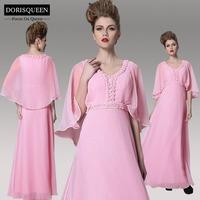 DORISQUEEN new arrival a line floor length scoop beaded long prom dresses  long sleeve 2014 30929