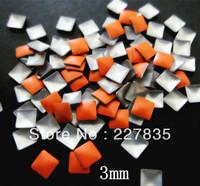 3mm total 100 PCS SUPER NEWEST light orange 3d nail art studs square  Metal decoration Decal