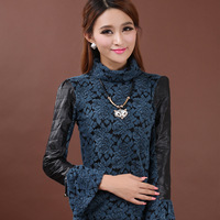 Thin plus velvet basic shirt women's thermal slim lace t-shirt turtleneck long-sleeve 8381 rose