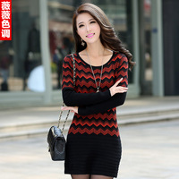 Women Winter Chevron O-neck Pullover Stripe Medium-long Sweater Slim Hip Sweater One-piece Dress