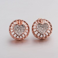 VGE524 Fashion Jewelry Hollow Out Round Love Crystals 18K Rose Gold Plated Stud Earrings Brincos for women wholesale