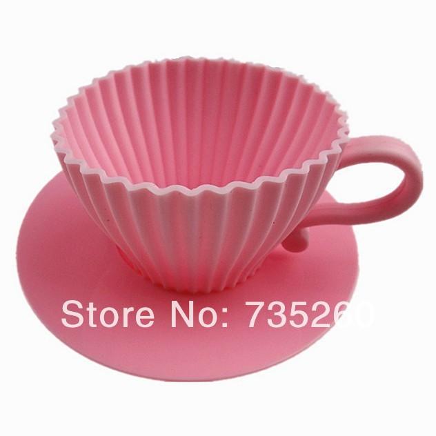 Free Shipping 8PCS Bake & Serve Cupcake Set Silicon Bake Cup Cake Mold Tea Cups & Saucers(China (Mainland))