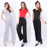 8195 2014 spring and summer fashion jumpsuit casual trousers short-sleeve one-piece jumpsuit wide leg pants