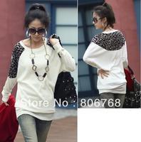 Women's Sexy Leopard Split Long Sleeves Lady Blouse Casual Tops Long T Shirt plus size XXL Free Shipping