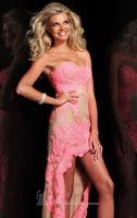 Free Shipping Mermaid/Trumpet Sweetheart Natural Sleeveless Zipper Chiffon Coral/Nude Hi- Lo Lace Prom Dress