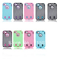2013 wholesale  HOT TRIPLE LAYER Waves HYBRID HARD CASE COVER Dirt-resistant Case For iPhone 4+Film(Free Gift)