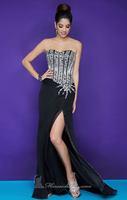Hot Sale Sheath Sweetheart Sleeveless Empire Zipper Chiffon Beading Slit Black Prom Dresses