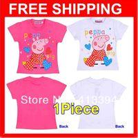 2014 New Arrival Girls Short Sleeve Peppa Pig 100% Cotton T-Shirt  Children Clothing Girls Baby Tops Tees T shirt Free Shipping