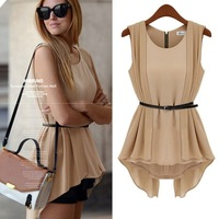 Free shipping 2014 new arrival summer fashion slim medium-long chiffon shirt chiffon shirt chiffon top