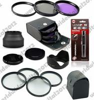 49MM UV CPL FLD Filter Kit + Lens  Cap +  MACRO CLOSE UP LENS SET +  Lens Hood Flower Crown Petal Shape