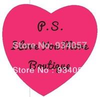 The high-quality goods sticker pink heart-shaped, personality Heart-shaped boutique sticker 4cm*4cm*300pcs