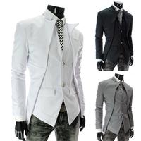 Free shipping 2013 top brand fashion men's suit jacket Slim asymmetrical design tuxedo jacket 3 color 4 size Business Suit