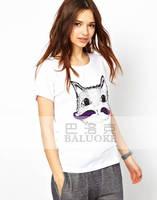 Fashion summer purple kitten print short-sleeve casual basic t-shirt