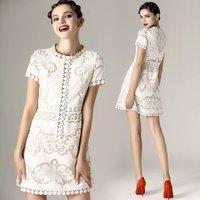 Hot Sale 2014 Free Shippig Wholesale Vestidos Casual Cotton Dress New Elegant Empire Cream Lace Dress 2 Color