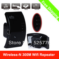 New Wireless-N Wifi Repeater 802.11N/B/G Network Router Range Expander 300M 2dBi Antennas Signal Boosters Black Free Shipping