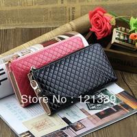 Free Shipping 2014 new Women's fashion PU leather long design Diamond plaid zipper wallets/purse/handbag/day clutch NQB47