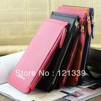 Free Shipping 2014 new Fashion women's long ultra-thin PU leather zipper wallets/purse/day clutch/card holder NQB48