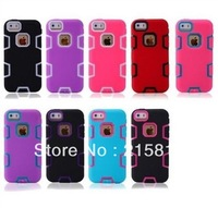 2013 wholesale For iPhone 5C Colorful Heavy Duty Shockproof Hybrid Rugged Hard Case Cover Dirt-resistant case+Film(Free Gift)