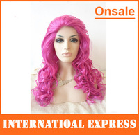 In Stock---Cheap hand tied synthetic lace front wigs long purple wigs big curl curly party dresses stocking cosplay wigs