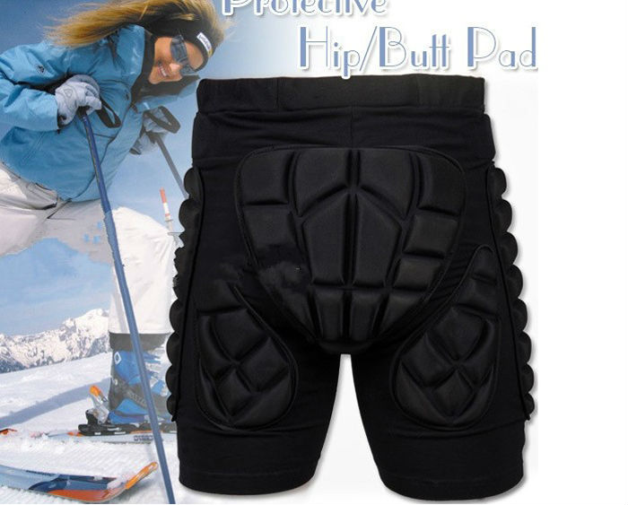 Black Kids Adult Man Woman Short Protective Hip Butt Pad Pants Ski Skate Snowboard Size XS S M L XL XXL(China (Mainland))