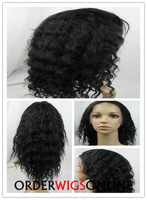 Free Shipping Deep Wave Indian Remy Hair Lace Front Wigs For Black Women Color #1B