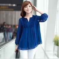 Women Blouse Shirts 2014 Plus Size Clothing Three Quarter Loose Chiffon Fold Blusas Femininas Fashion Summer Tops L-4XL Blue 06