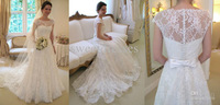 2014 New Sheath Wedding Dress Bridal gowns White/Ivory Short Sleeve Lace Church Scoop Custom