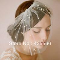 Handmade Bridal Veil SCATTER PEARL Short Birdcage Blusher Veil In  White