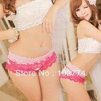 2014  Hot sexy panties Cute pink mesh lace  thong 7024