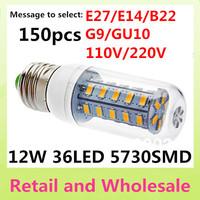 E27-5730SMD-36LED+Free Shipping+LED Corn Light Bulbs Lamps E27 B22 G9 GU10 12W Warm White/White Home Lighting 150pcs/LOT